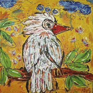 Schilderij LIEK witte vogel